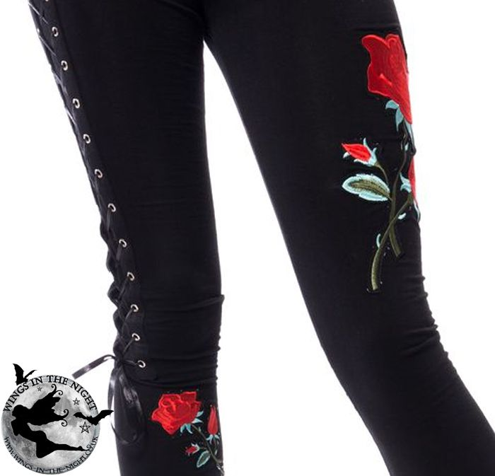 391e2da8ba3a6c VIXXSIN Ladies Gothic Black Rose Corset Leggings | Gothic Clothing